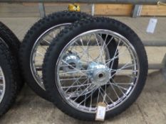 Pair of wire wheels and tyres, 16ins - carries VAT.