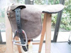 Suede and felt pony pad with stirrups; unused