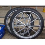 Pair of wheels and tyres, 18ins - carries VAT.