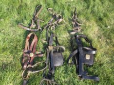 4 leather headcollars and 2 heavy horse bridles.