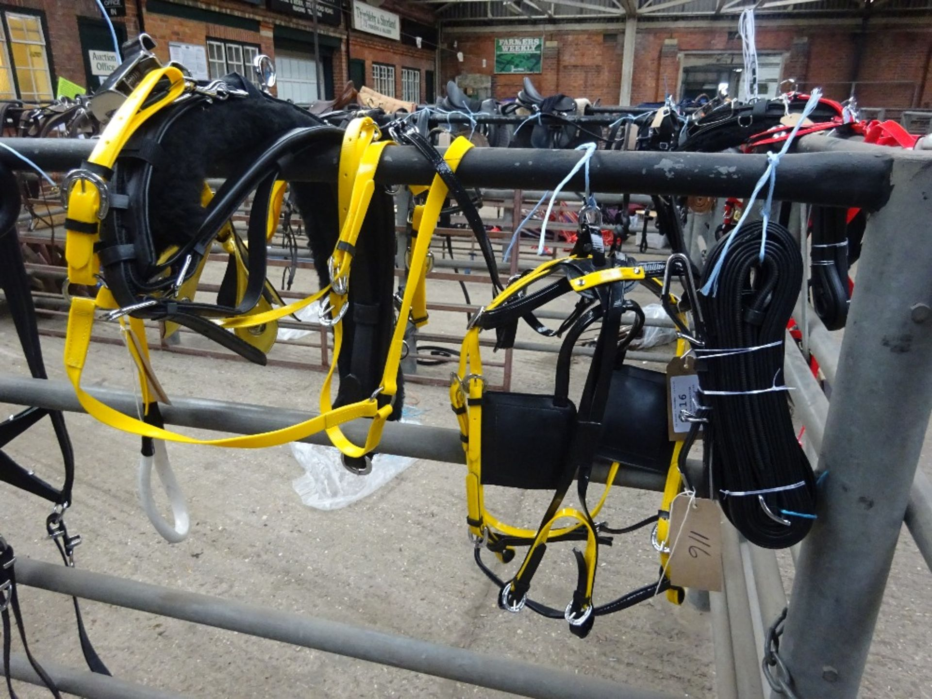Set of black/yellow quick hitch cob size trotting harness - carries VAT. - Image 2 of 2