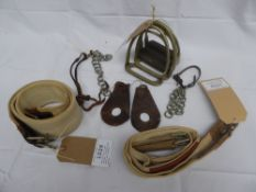 Selection of curb chains, stirrup irons, show and Lampwick girths