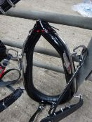 Set of black/red trade harness with 22ins collar, kidney beaters, traces with chain ends and whiteme