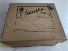 Silk top hat by Scott's of London with original hat box, size 7 1/8, internal measurements 20.5cm x
