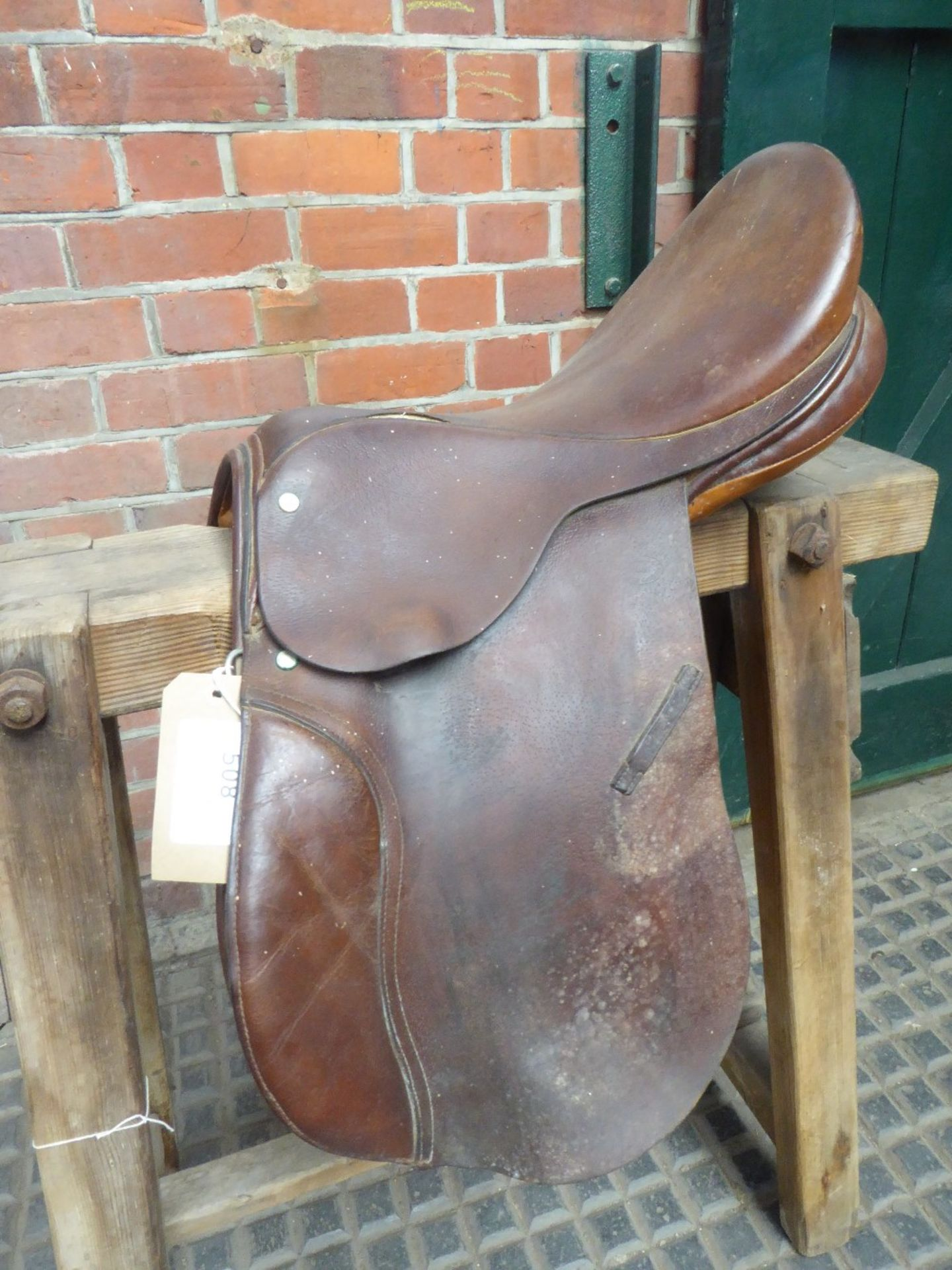 Brown leather 16ins saddle by M.E.Howey, D-D 7ins