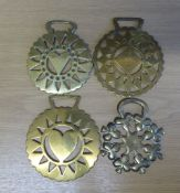 4 x brasses with assorted perforated designs of hearts, diamond and clubs - 2 are stamped and 2 are