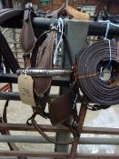 Set of brown/whitemetal breastcollar harness to fit a pony - carries VAT.