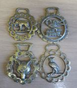 3 x cast brasses depicting 'Alice', a fox mask and a swan; and another, stamped, of an owl. All with