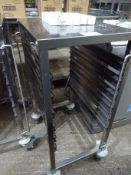 6 tier stainless steel tray trolley.