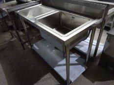 Diaminox single bowl, single drainer sink, 120cms.