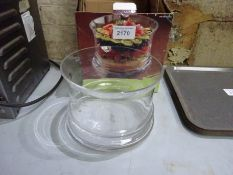 Glass serving bowl.