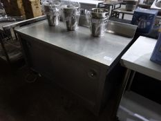 Mobile stainless steel hot cupboard, 240v, 130cms.