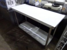 New stainless steel prep table with shelf, 150cms.