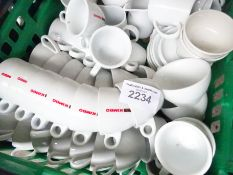 Assorted cups, saucers, milk jugs, sugar bowls etc, approx 140 pieces, some branded.