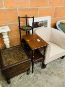 Upholstered tub chair, mirror and three other items of furniture.