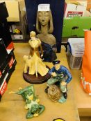 Various figurines and a Gehel Faience 1960s/70s tile top table.