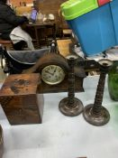 Oak framed mantel clock; small three drawer cabinet; and pair of turned wood candlesticks