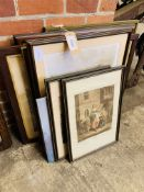 Collection of eleven framed and glazed prints.