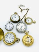 Key wind small pocket watch, case marked 'fine silver', and five other pocket watches.