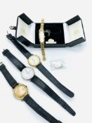 Four watches: Tissot Seastar; Tissot Stylist; DKNY lady's evening; and a Timex.