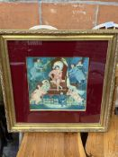 "Gilt framed oil on board ""La Petite Marie"", by Dominique Sellier."