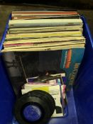 Box of various LP's and singles.