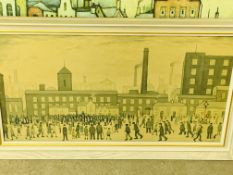 Framed and glazed L S Lowry print together with an L S Lowry block print.