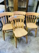 Set of four Windsor style kitchen chairs.