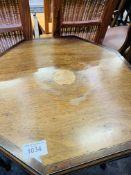 Mahogany octagonal top display table, together with a mahogany sewing box.