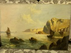 Pair of unframed oil on canvas seafront and fishing boats scenes