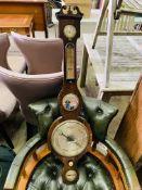 Early 20th century mahogany banjo-style barometer/thermometer.