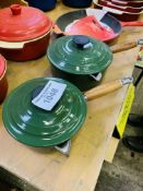 Two green Le Creuset pans.