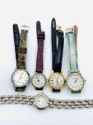Five various ladies' wrist watches