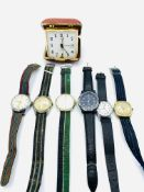 Two Rotary manual wind wrist watches and four other various watches.