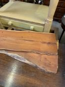 Two yew wood waney edge serving boards.