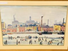 L S Lowry framed and glazed print 'Northern River Scene'.