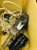 Brunsviga 13RM mechanical calculator and Yashica-M cine camera.