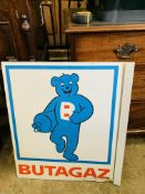 Butagaz metal hanging double-sided advertising sign.
