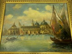 Two framed and glazed watercolours; two prints; pencil drawing; and oil on card of Venice.