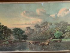 A pair of framed and glazed watercolours of rural scenes signed B Cook.