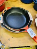 Two Le Creuset frying pans.