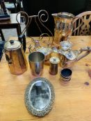 Various silver plate items.