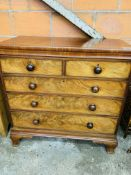 Victorian mahogany chest of two over three graduated drawers with bun handles.