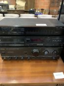 Technics amplifier; Luxman compact disc player, and AM/FM tuner.