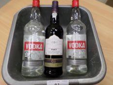 2 bottles vodka, bottle of port