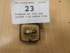 Diamond set 18ct and plated 2-3g ladies ring