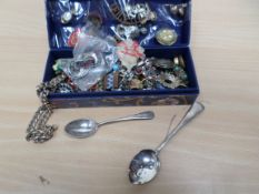 Box of costume jewellery and military badges