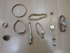 5 ladies watches, bracelet and ring