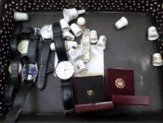 Box of watches, thimbles etc