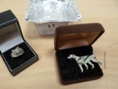Silver fox head ring (adjustable) and dog shaped brooch